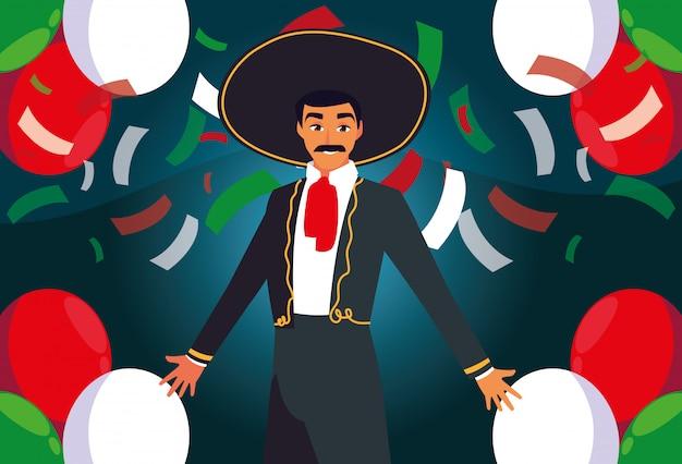 Hombre con traje de mariachi sobre fondo de confeti