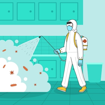 Hombre en traje de materiales peligrosos limpiando la cocina de bacterias