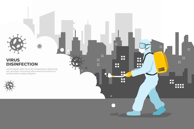 Hombre en traje de materiales peligrosos que limpia la ciudad de virus