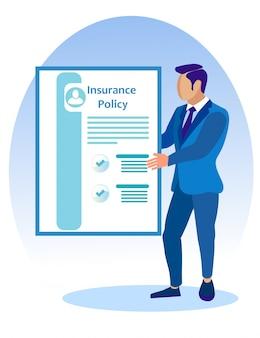 Hombre en traje de negocios con póliza de seguro en mano