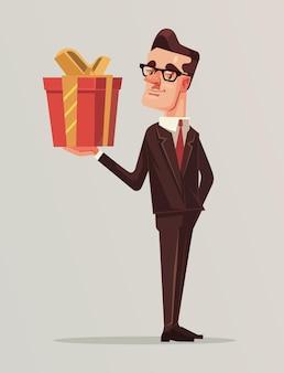 Hombre en traje de negocios tiene caja de regalo grande