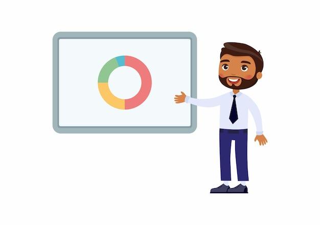 Hombre en un traje de oficina apunta a una placa de demostración con gráficos