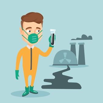 Hombre en traje de protección radiológica con tubo de ensayo.