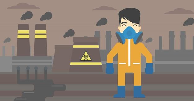 El hombre en traje de protección radiológica.