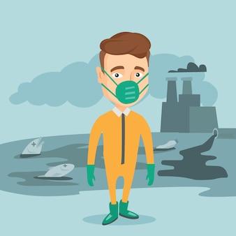 Hombre en traje de protección radiológica.