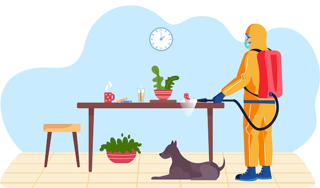 El hombre con un traje protector amarillo desinfecta la sala de estar con el perro o la oficina con una pistola rociadora. virus pandémico covid-19. prevención contra la enfermedad de coronavirus, vector plano de saneamiento de instalaciones.