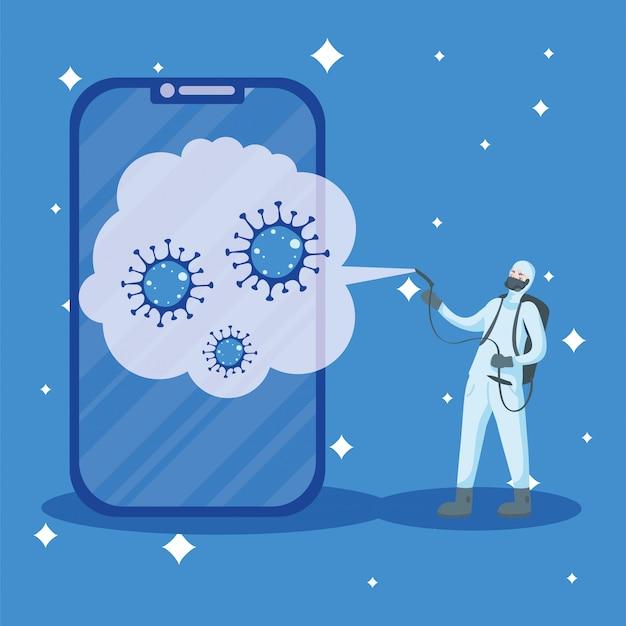 Hombre con traje protector rociando teléfono inteligente con diseño covid 19
