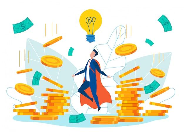 Hombre en traje de superhéroe creando ideas de negocios