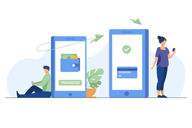 Hombre transfiriendo dinero a la mujer a través de un teléfono inteligente. en línea, transacciones, banca ilustración vectorial plana. concepto de tecnología digital y finanzas