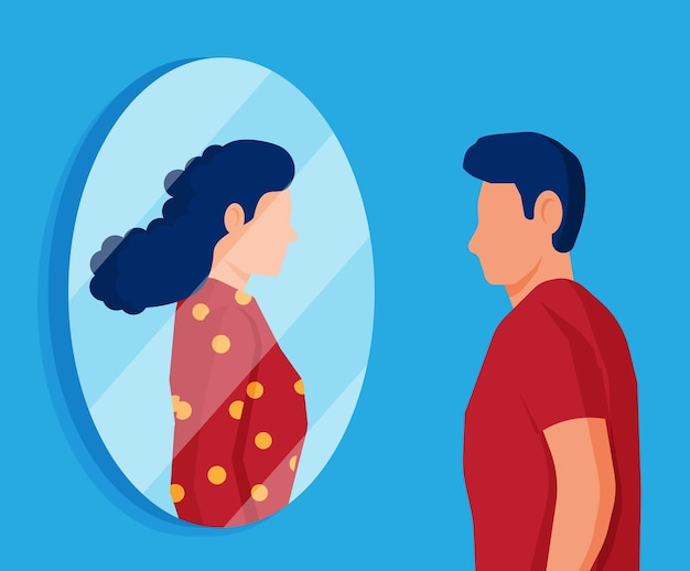 Hombre transgénero mirando en el espejo y viendo a la mujer. reflexión imaginaria, concepto de transgénero. orientación sexual de niño y niña. orgullo lgbt, identidad de género. ilustración de vector plano de dibujos animados