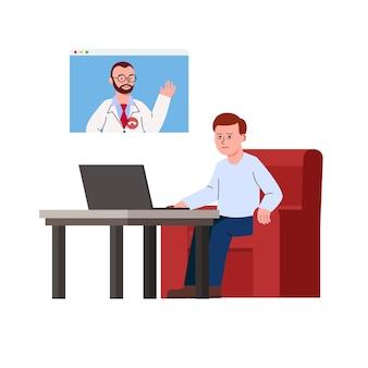 Hombre con trastorno del sueño consultando en línea con el médico