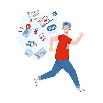 Hombre tratando de correr de la ilustración de dibujos animados de noticias preocupantes
