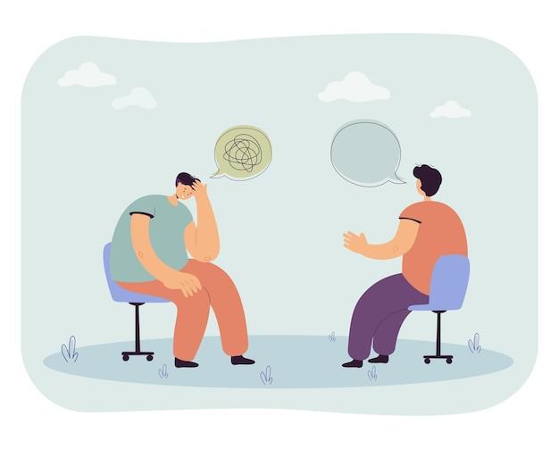 Hombre tratando de entenderse a sí mismo. ilustración plana