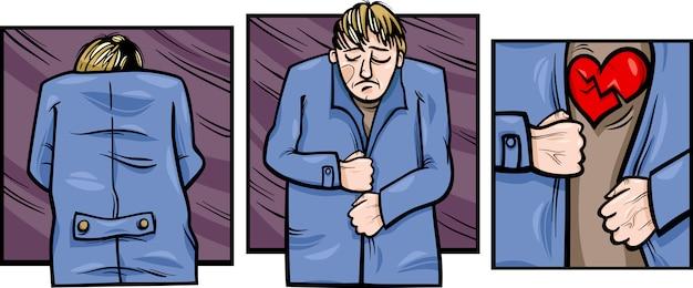 Hombre triste con cómics corazón roto