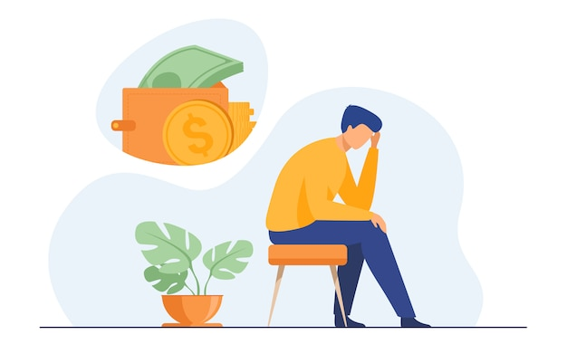 Hombre triste deprimido pensando en problemas financieros