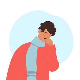 Hombre triste que tiene un resfriado
