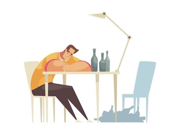 Hombre triste solitario bebiendo alcohol composición de dibujos animados