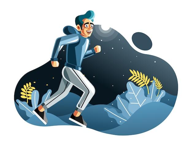 Hombre trotar en la ilustración de vector de noche