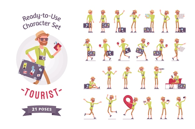 Hombre turista con juego de caracteres de equipaje
