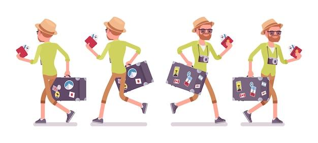 Hombre turístico con equipaje caminando y corriendo