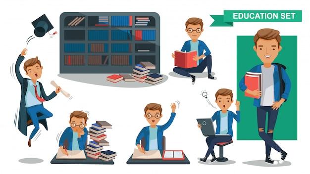 Hombre universitario conjunto de hombre de educación estudiantil. concepto de actividad estudiantil