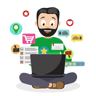 Un hombre usa una computadora portátil y vuela a su alrededor los iconos asociados con la computadora en blanco.