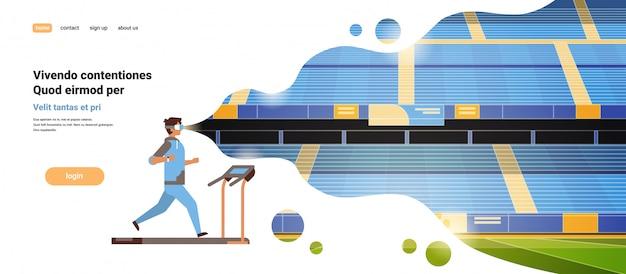 Hombre usa gafas vr corriendo en la cinta de correr estadio de realidad virtual pista visión auriculares innovación
