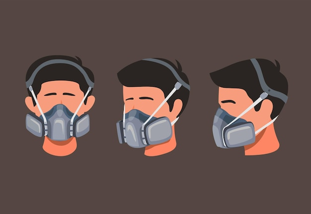 El hombre usa máscara de seguridad respiratoria para el polvo o la contaminación química en el concepto de conjunto de iconos de ángulo lateral y frontal en la ilustración de dibujos animados
