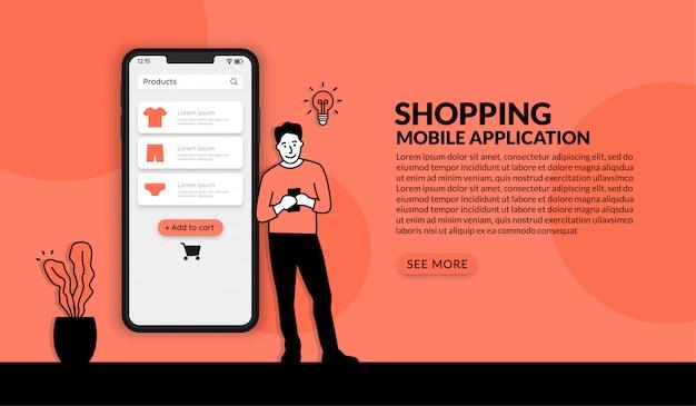 Hombre usando la aplicación de compras en línea, el concepto de comercio electrónico de seguridad