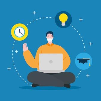 Hombre usando mascarilla en educación en línea con diseño de ilustración portátil
