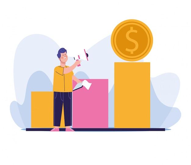 Hombre usando una moneda megáfono y dinero en gráfico de barras gráfico