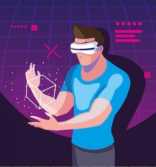Hombre usando tecnología de realidad aumentada