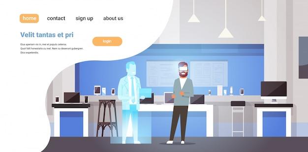 Hombre use gafas digitales eligiendo gadgets consultor de realidad virtual en tienda de tecnología moderna