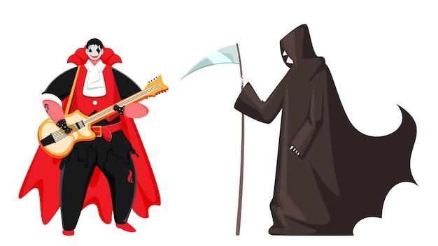 Hombre vampiro de dibujos animados tocando la guitarra y el personaje de la parca sobre fondo blanco.