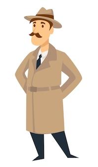 Hombre de vector de agente secreto detective