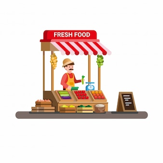 Hombre vendiendo frutas y verduras frescas en el mercado de madera tradicional puesto de comida. vector de ilustración plana de dibujos animados aislado