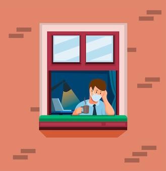 El hombre en la ventana trabaja desde casa. hombre tala estrés y aburrido en concepto de actividades de cuarentena en vector de ilustración de dibujos animados