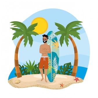 Hombre vestido con bañador con tabla de surf y palmeras.