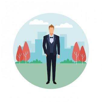 Hombre vestido con esmoquin icono redondo