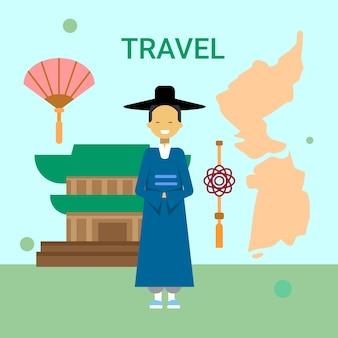 Hombre con vestido nacional coreano sobre el mapa y el templo de corea del sur