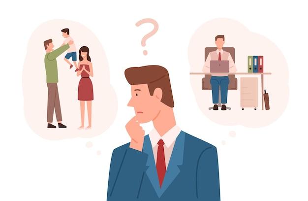 Hombre vestido con traje de negocios eligiendo entre responsabilidades familiares y carrera