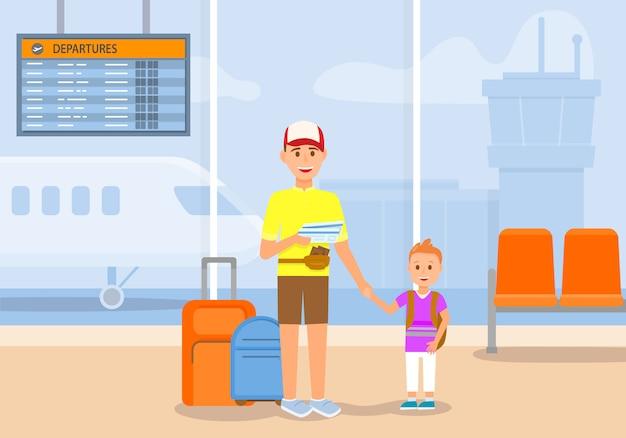 Hombre viaja con niño y equipaje en avión. viaje.