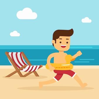 El hombre va a viajar en vacaciones de verano, hombre feliz corriendo en la playa