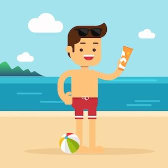 El hombre va a viajar en vacaciones de verano, el hombre que sostiene una botella de crema solar en la playa