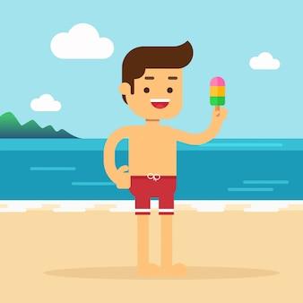 El hombre va a viajar en vacaciones de verano, el hombre está de vacaciones comiendo un helado en la playa