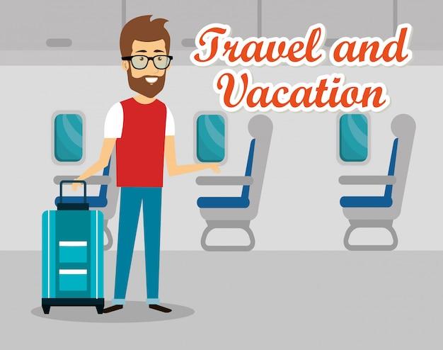 Hombre viajero en el aeropuerto