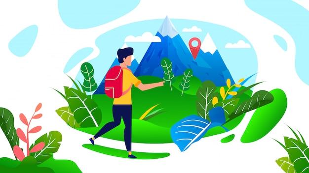 Hombre viajero con mochila caminando en las montañas de dibujos animados