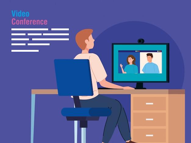 Hombre en video conferencia desde la computadora