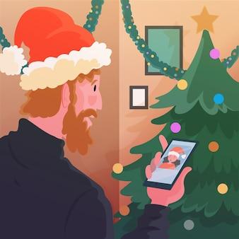 Hombre videollamada a un amigo en navidad