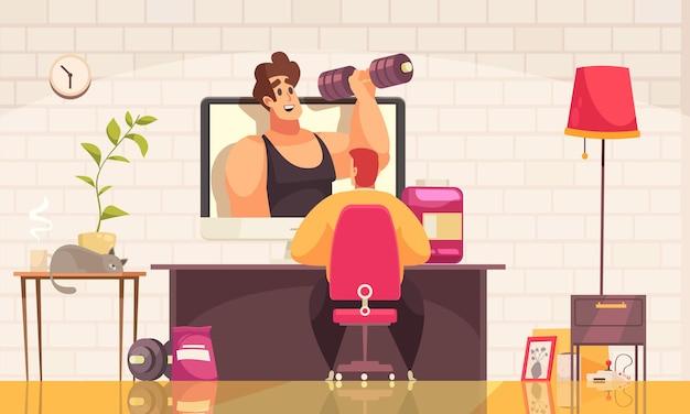 Hombre viendo video blogger en sport channel en casa cartoon